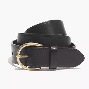 Madewell Black Gold Medium Perfect Leather Belt L